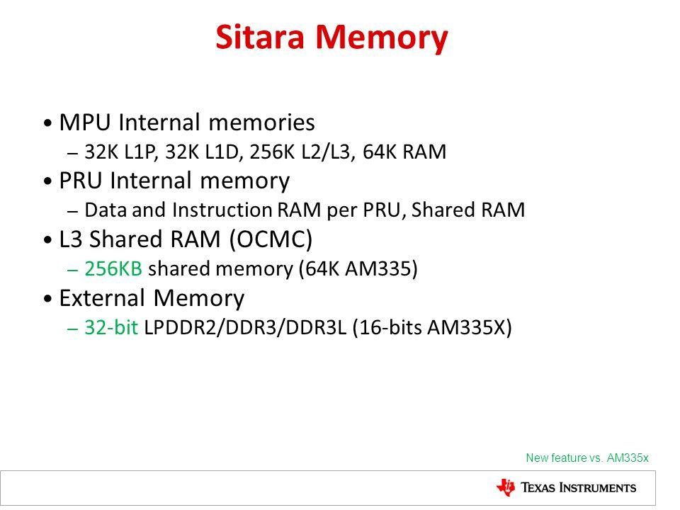Sitara Memory MPU Internal memories PRU Internal memory