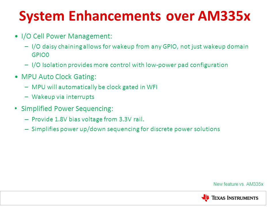 System Enhancements over AM335x