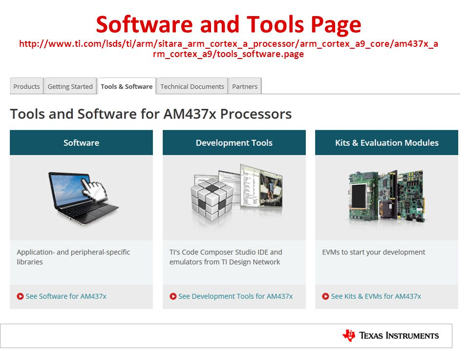 Software and Tools Page http://www. ti