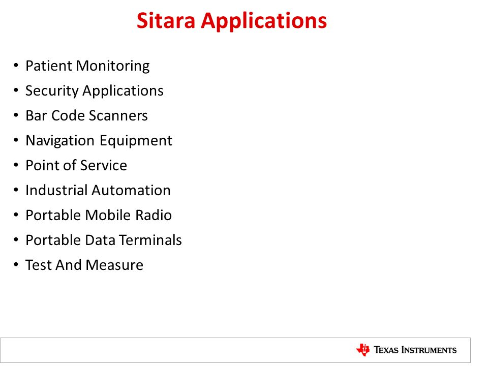 Sitara Applications Patient Monitoring Security Applications