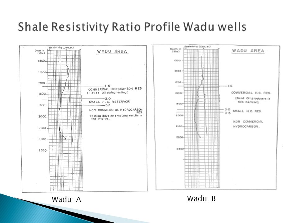 Shale Resistivity Ratio Profile Wadu wells