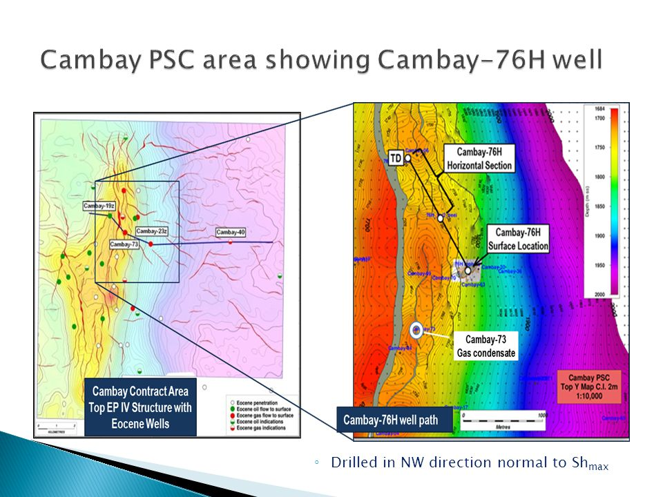 Cambay PSC area showing Cambay-76H well