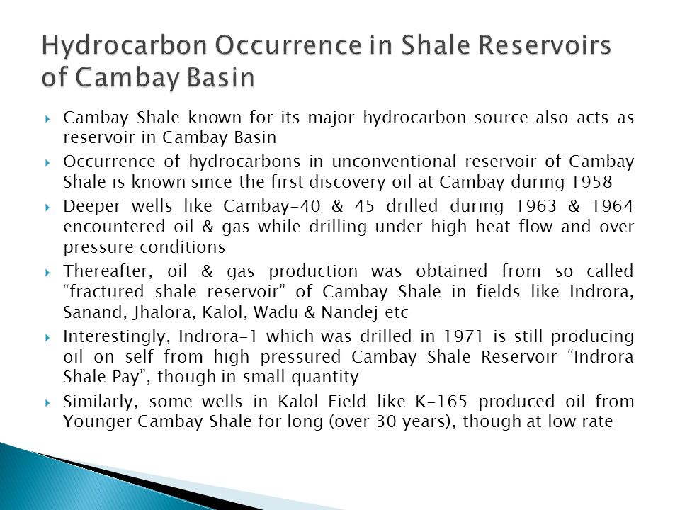 Hydrocarbon Occurrence in Shale Reservoirs of Cambay Basin