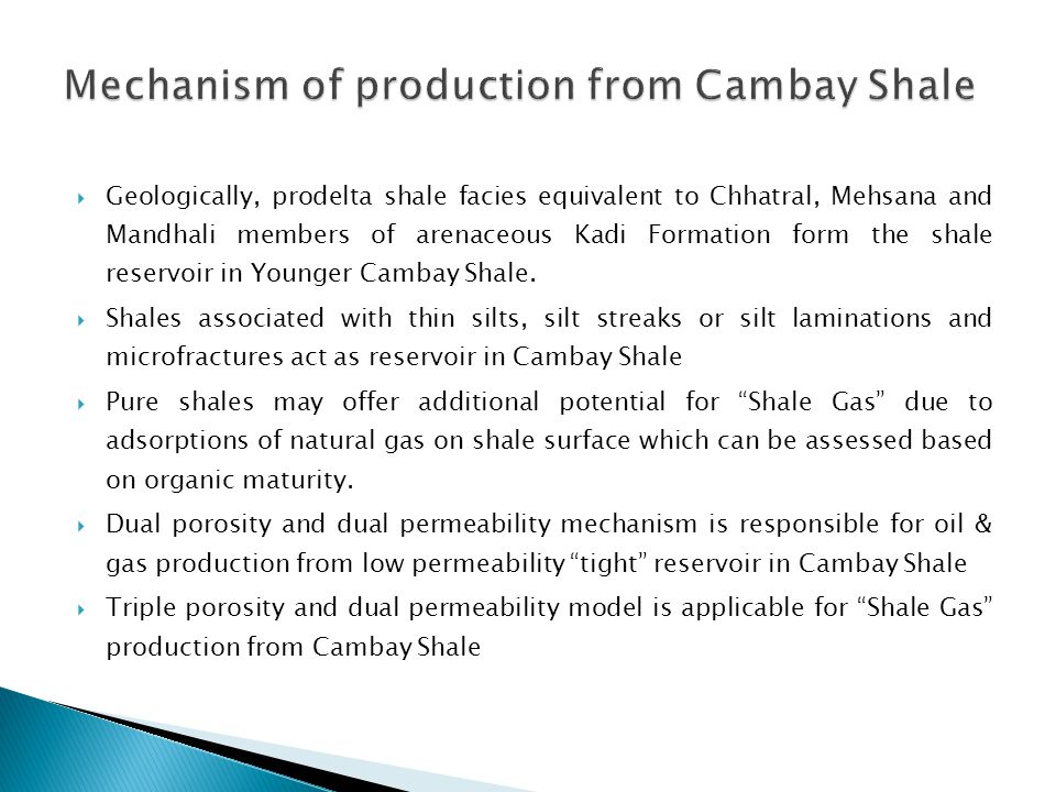 Mechanism of production from Cambay Shale