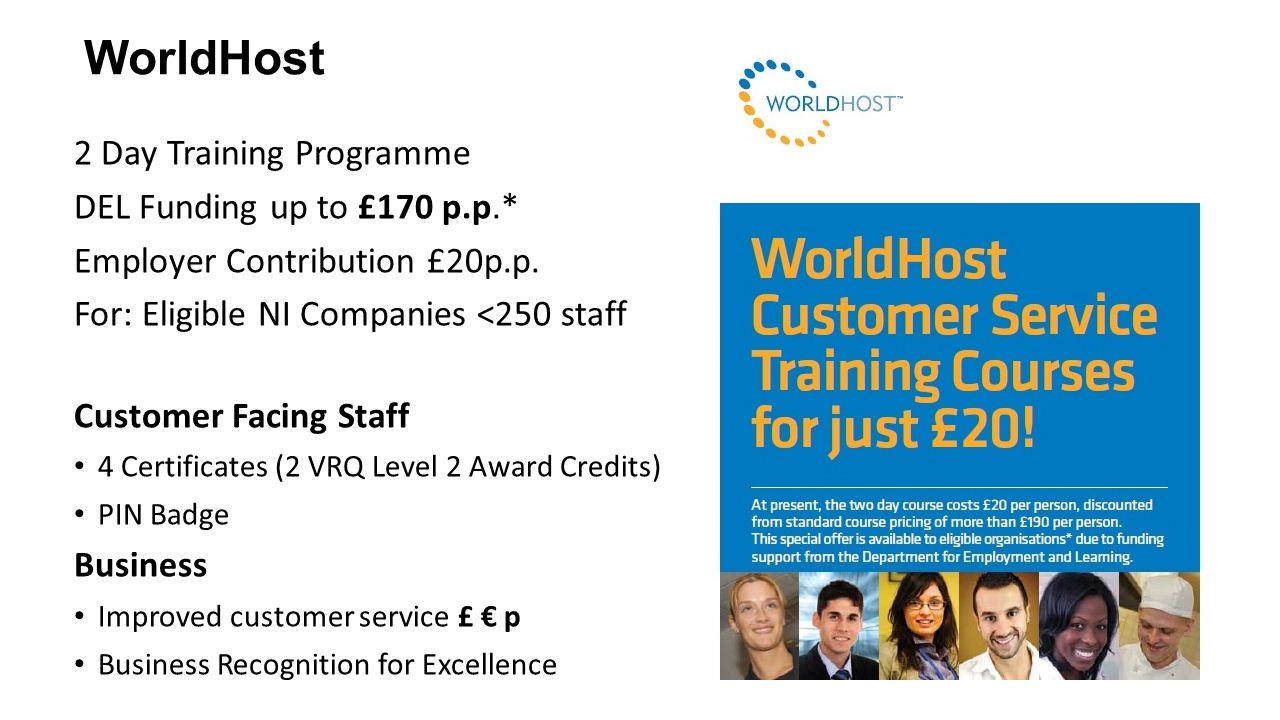 WorldHost 2 Day Training Programme DEL Funding up to £170 p.p.*