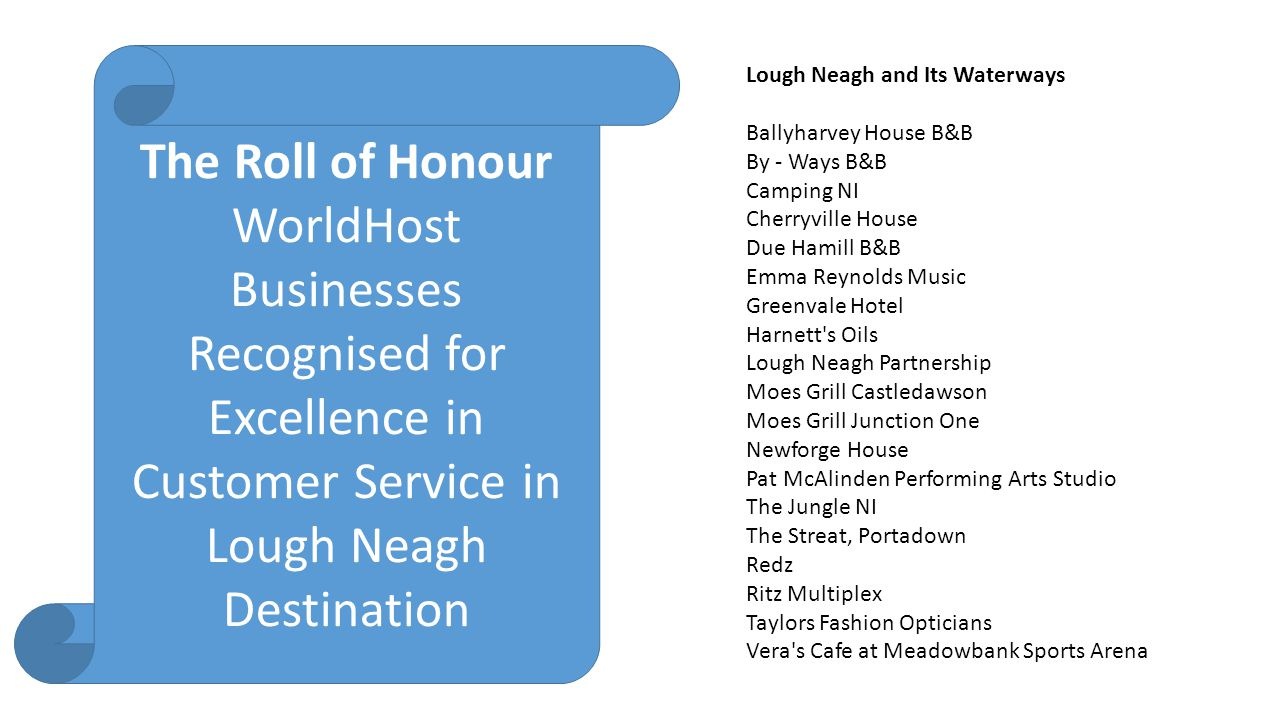 The Roll of Honour WorldHost Businesses Recognised for Excellence in Customer Service in Lough Neagh Destination