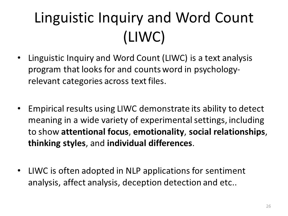 Linguistic Inquiry and Word Count (LIWC)