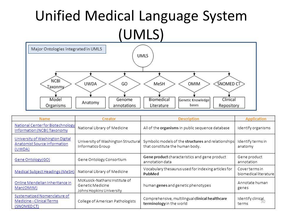 Unified Medical Language System (UMLS)