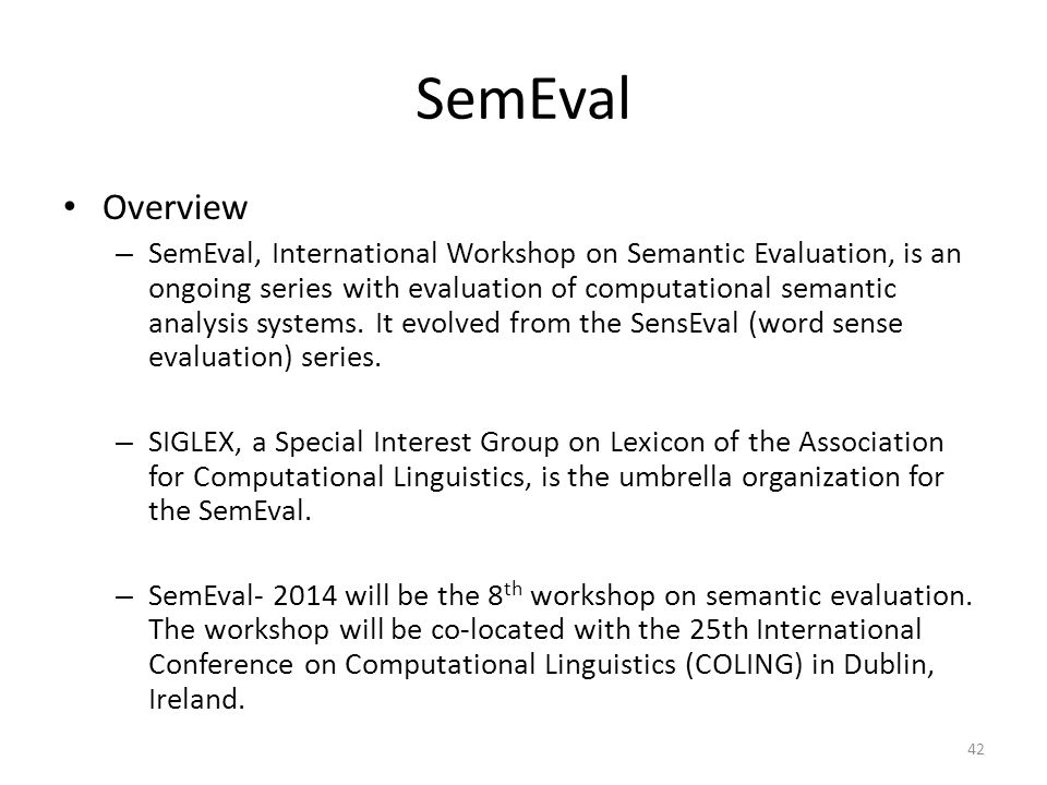 SemEval Overview.