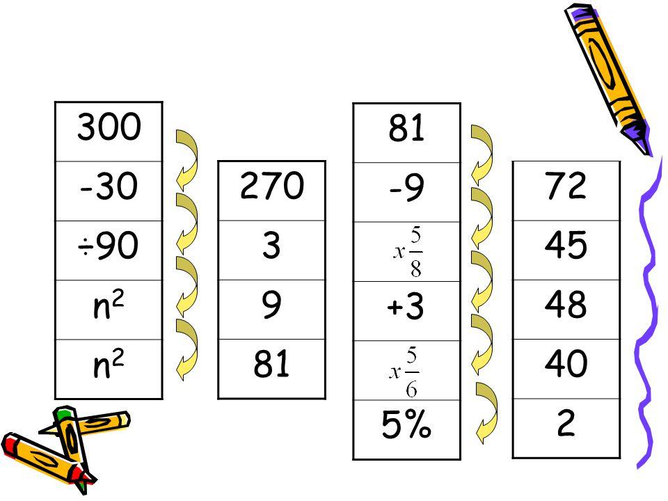 300 -30 ÷90 n2 81 -9 +3 5% 270 3 9 81 72 45 48 40 2