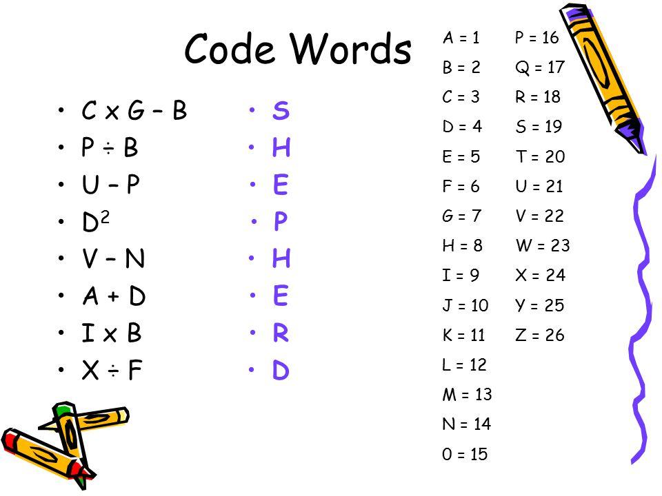 Code Words C x G – B P ÷ B U – P D2 V – N A + D I x B X ÷ F S H E P R