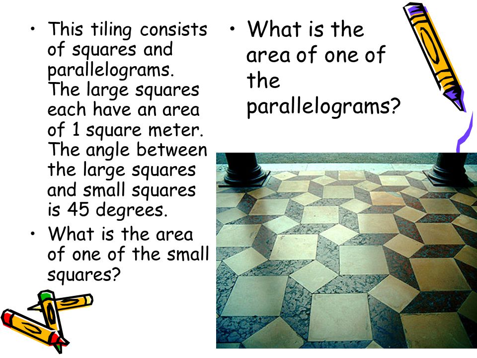 What is the area of one of the parallelograms