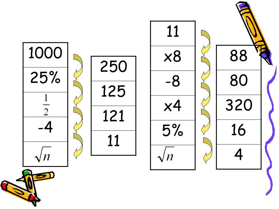 11 x8 -8 x4 5% 1000 25% -4 88 80 320 16 4 250 125 121 11