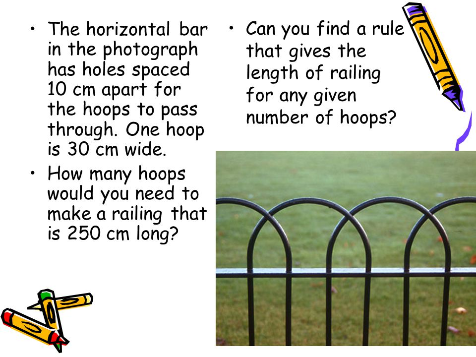 Can you find a rule that gives the length of railing for any given number of hoops