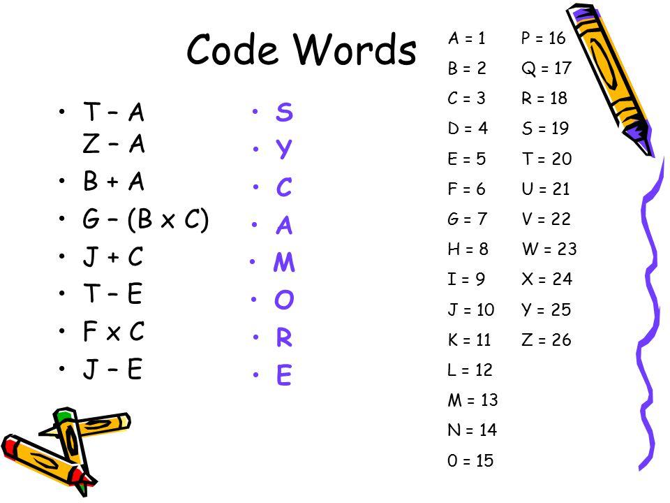 Code Words T – A Z – A B + A G – (B x C) J + C T – E F x C J – E S Y C