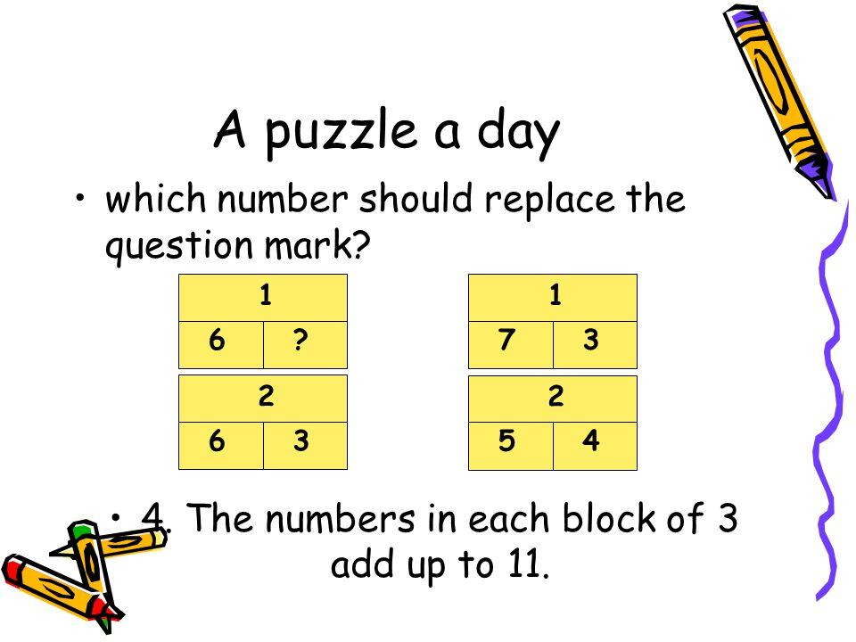 4. The numbers in each block of 3 add up to 11.