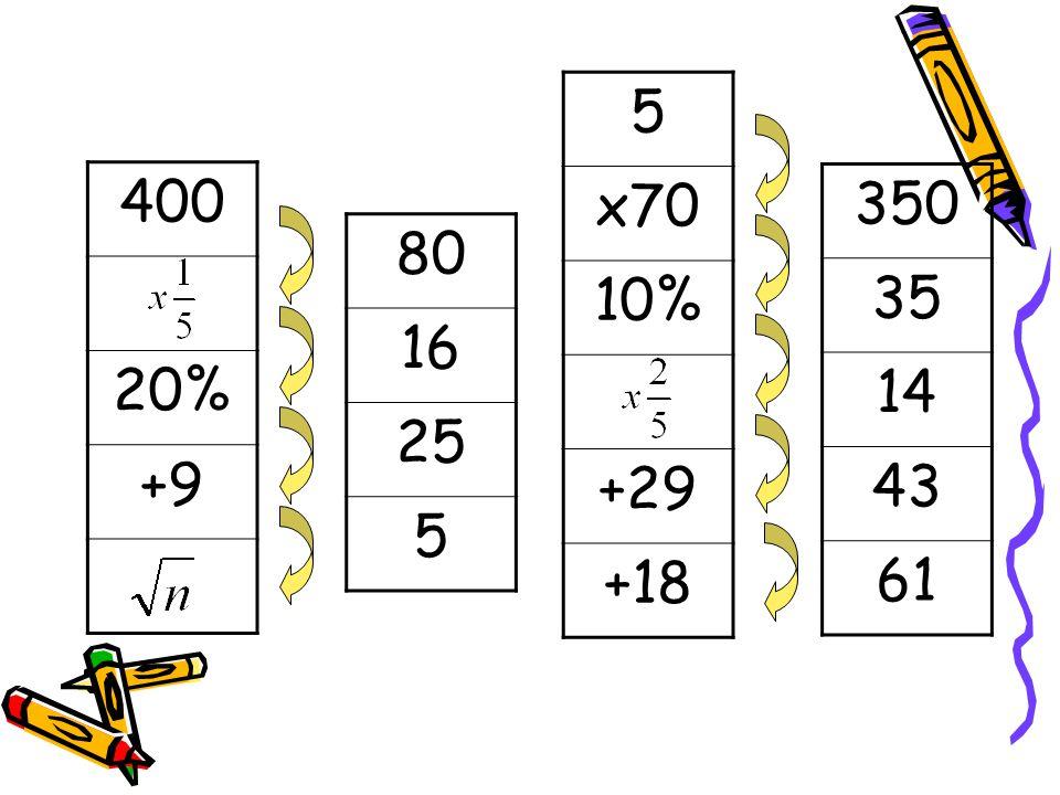 5 x70 10% +29 +18 400 20% +9 350 35 14 43 61 80 16 25 5