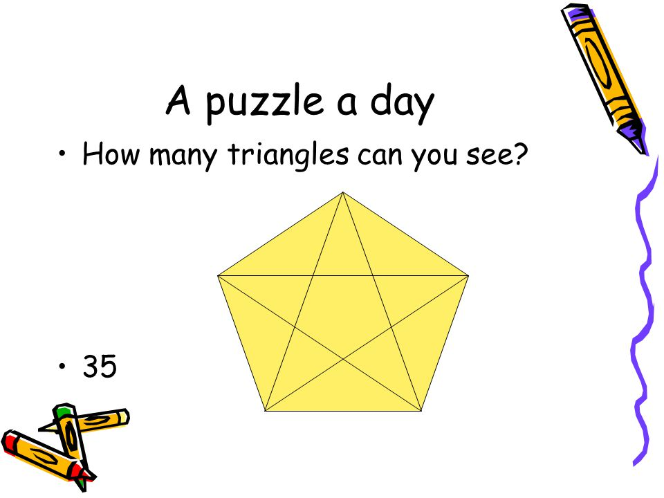 A puzzle a day How many triangles can you see 35