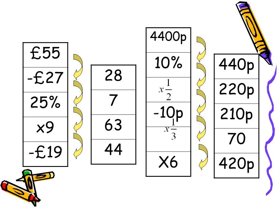 4400p 10% -10p X6 £55 -£27 25% x9 -£19 440p 220p 210p 70 420p 28 7 63 44