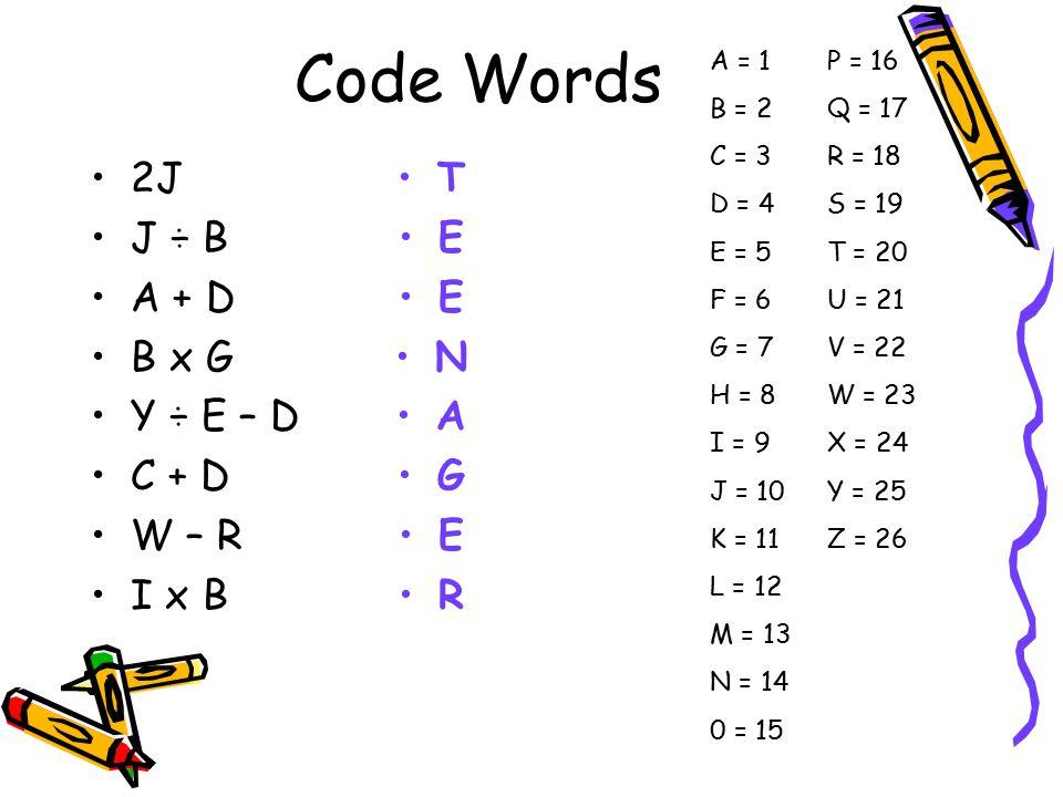 Code Words 2J J ÷ B A + D B x G Y ÷ E – D C + D W – R I x B T E N A G