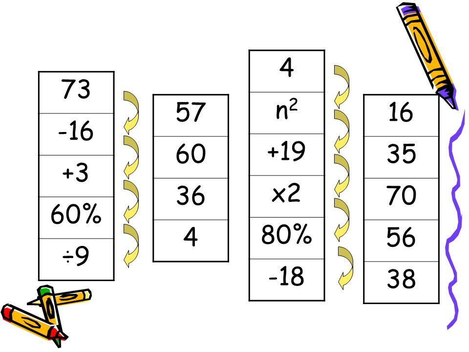 4 n2 +19 x2 80% -18 73 -16 +3 60% ÷9 57 60 36 4 16 35 70 56 38