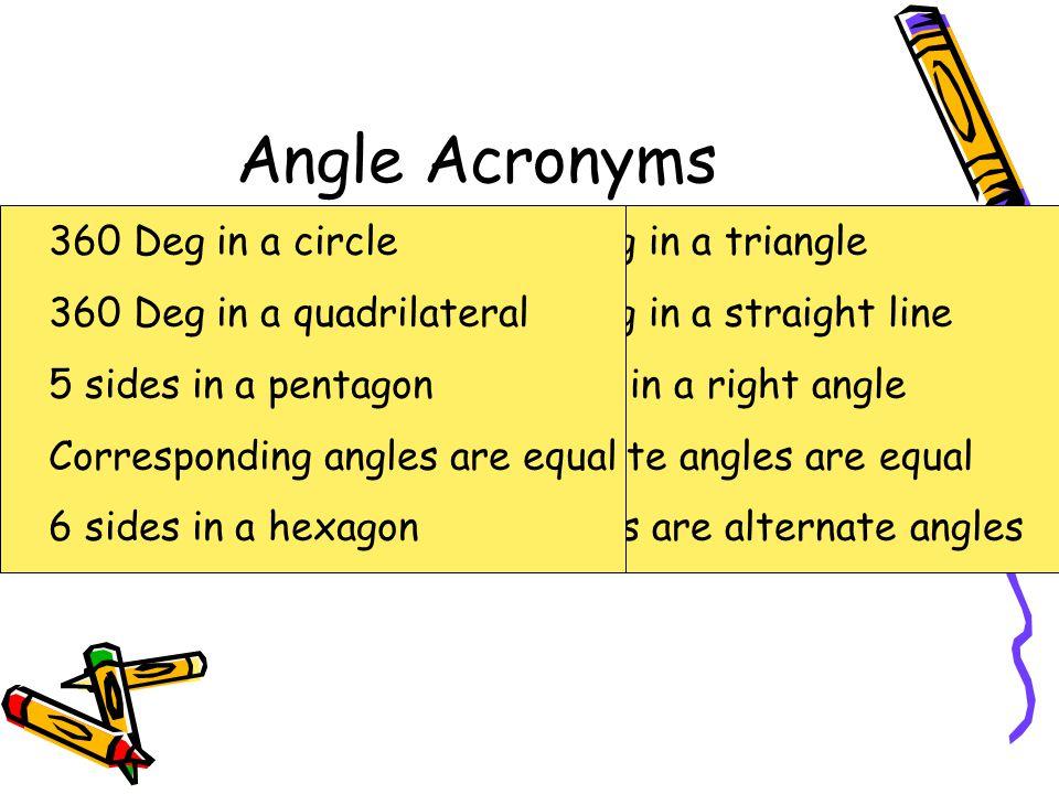 Angle Acronyms 180 DIAT 360 DIAC 180 DIASL 360 DIAQ 90 DIARA 5SIAP