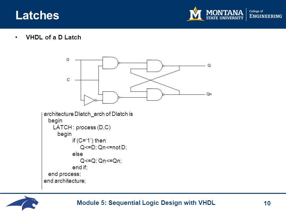 Latches VHDL of a D Latch