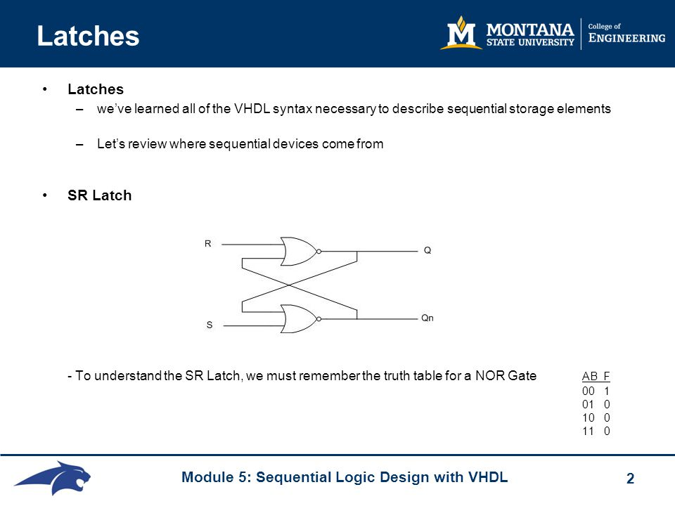 Latches Latches. we've learned all of the VHDL syntax necessary to describe sequential storage elements.