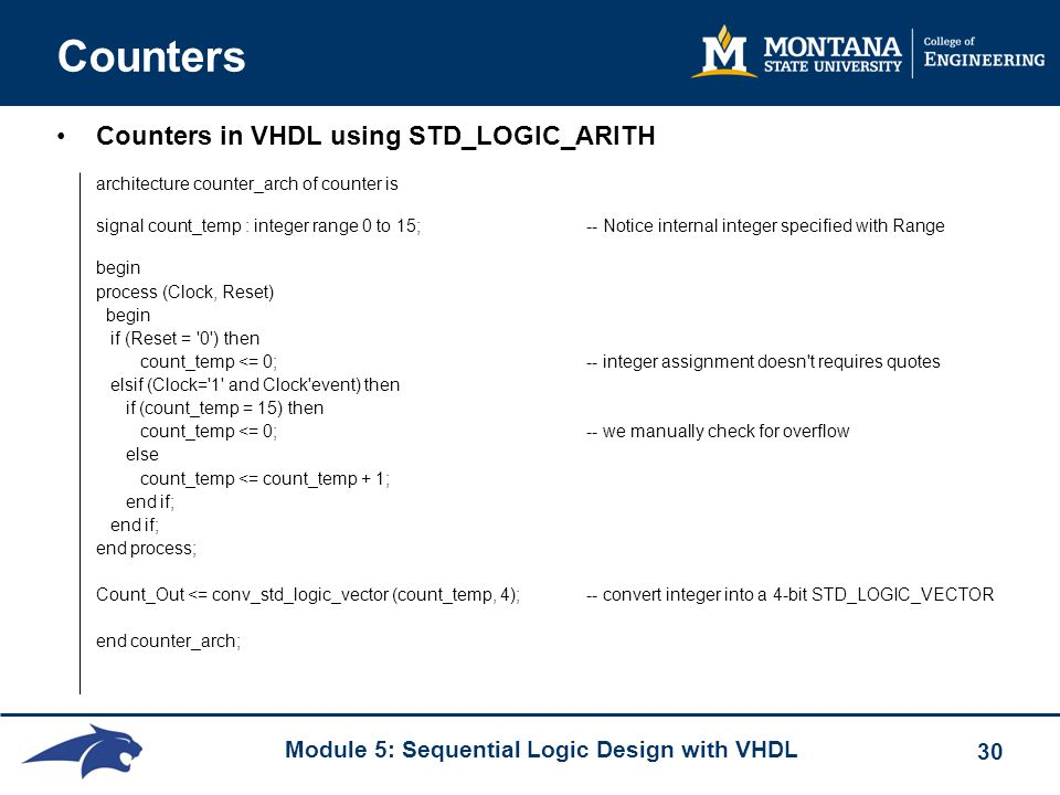 Counters Counters in VHDL using STD_LOGIC_ARITH