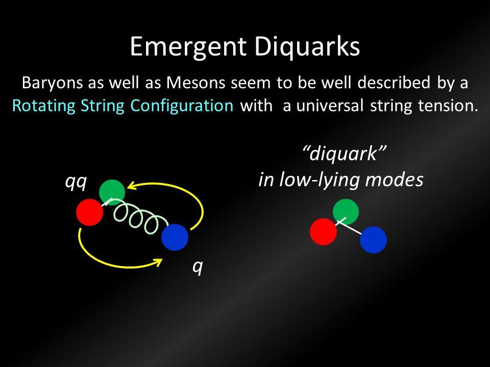 Emergent Diquarks diquark in low-lying modes qq q