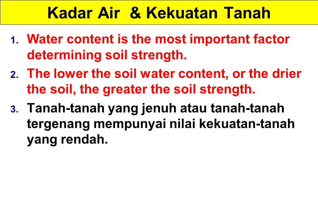 Kadar Air & Kekuatan Tanah