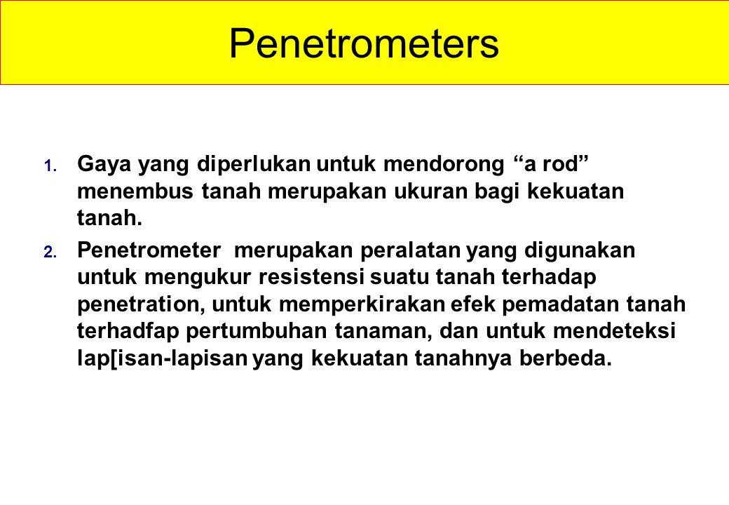 Penetrometers Gaya yang diperlukan untuk mendorong a rod menembus tanah merupakan ukuran bagi kekuatan tanah.