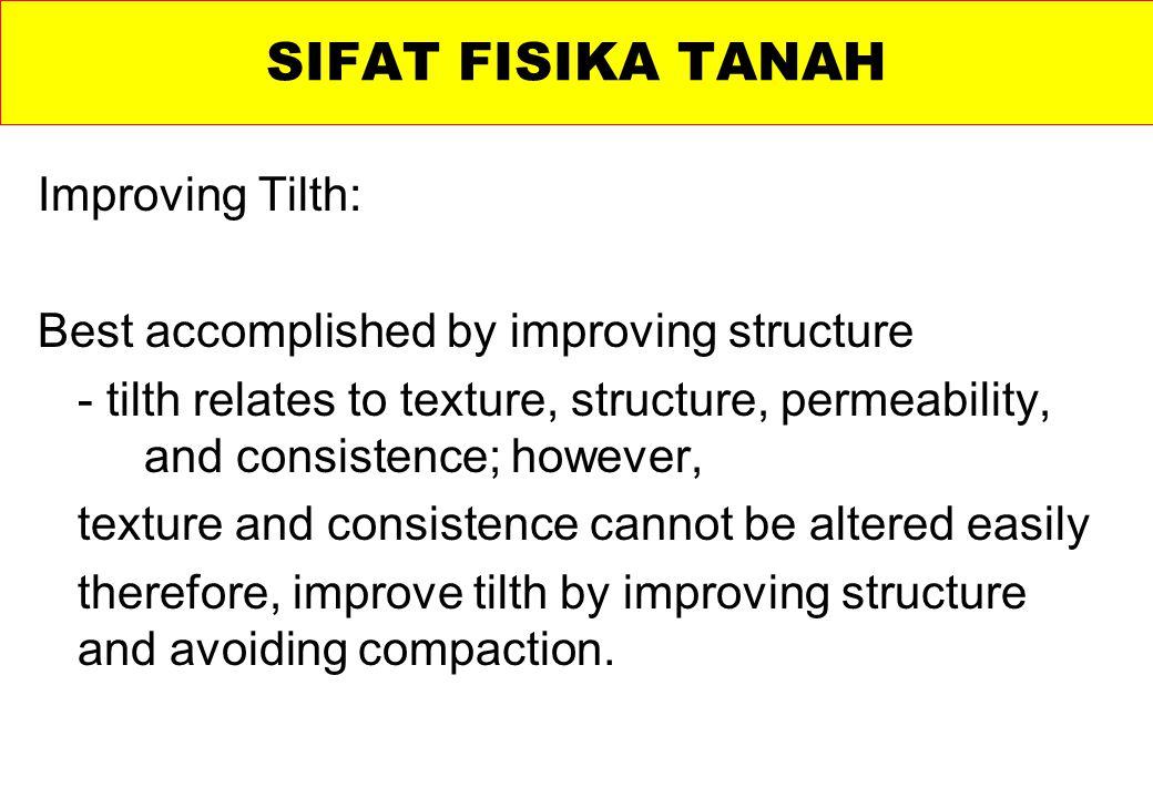 SIFAT FISIKA TANAH Improving Tilth: