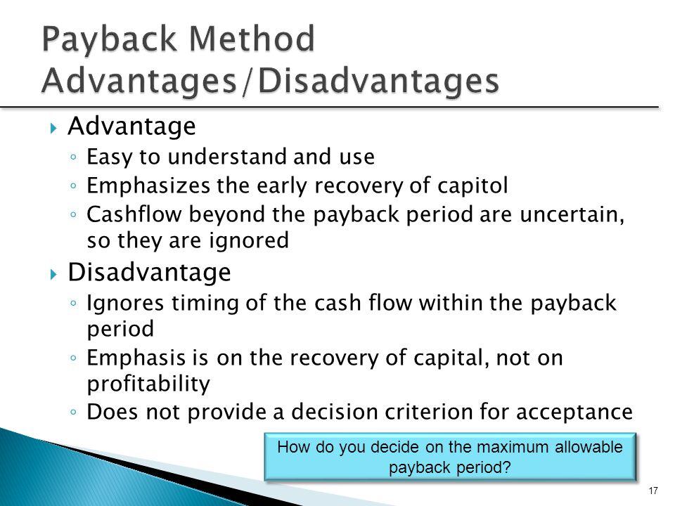 Payback Method Advantages/Disadvantages