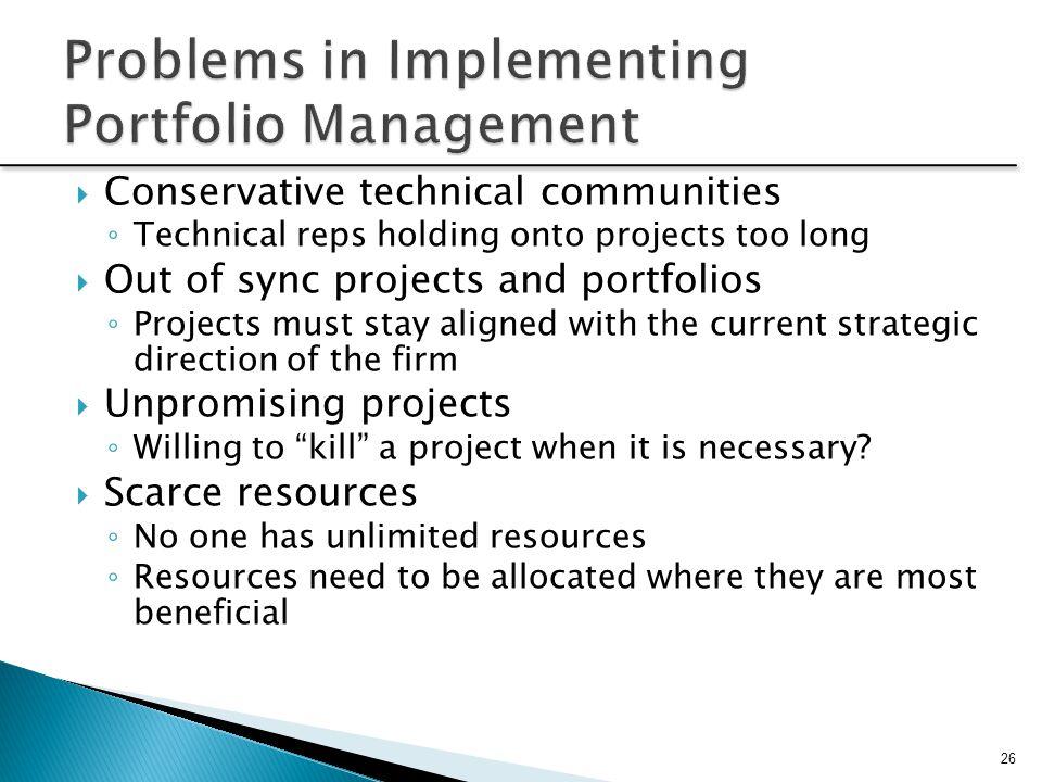 Problems in Implementing Portfolio Management