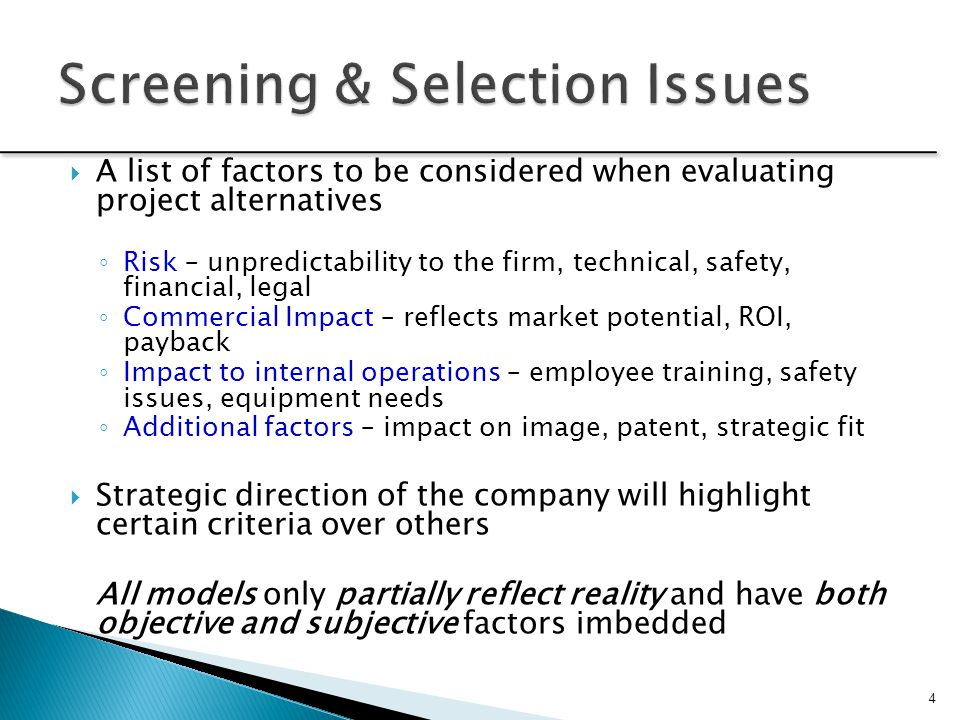 Screening & Selection Issues