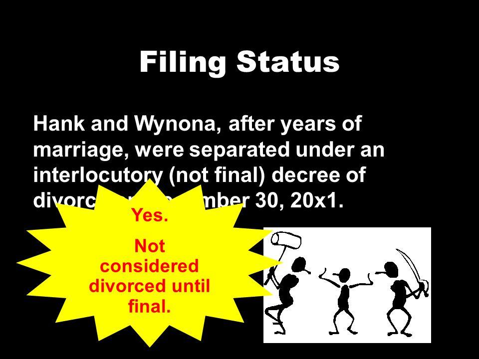 Not considered divorced until final.