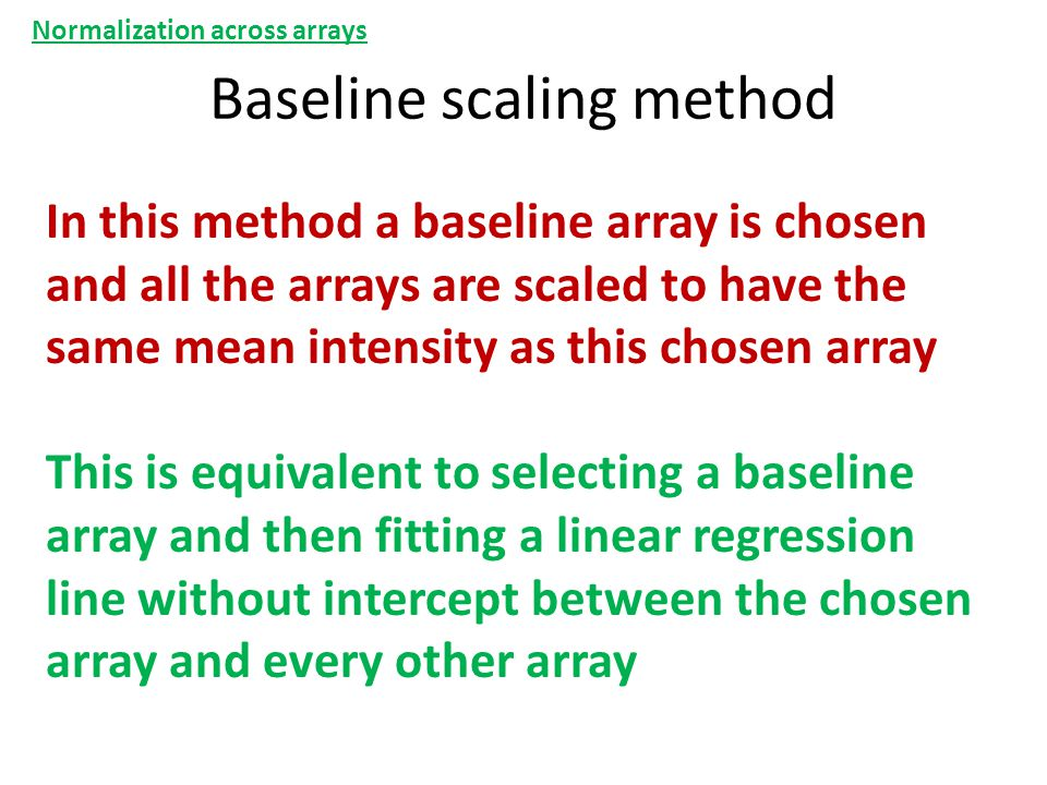 Baseline scaling method