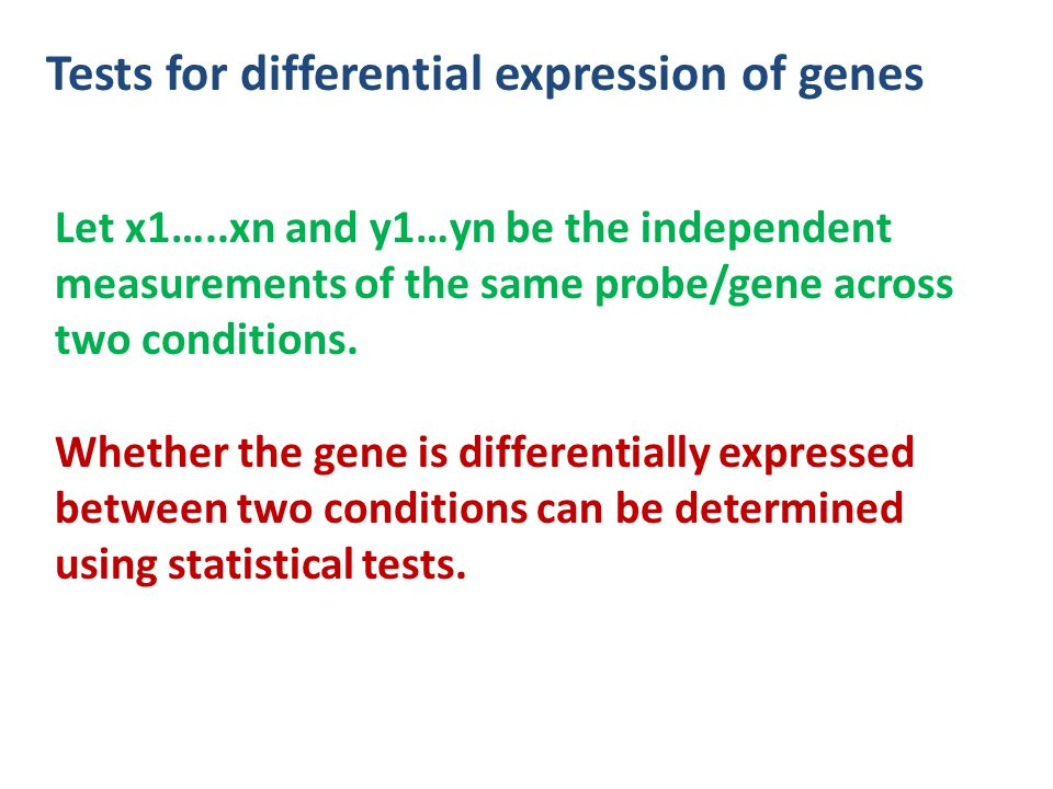 Tests for differential expression of genes