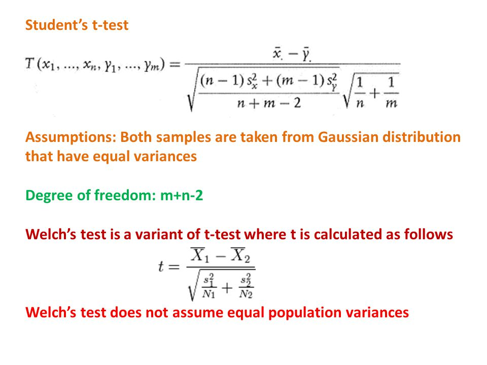 Student's t-test Assumptions: Both samples are taken from Gaussian distribution that have equal variances.