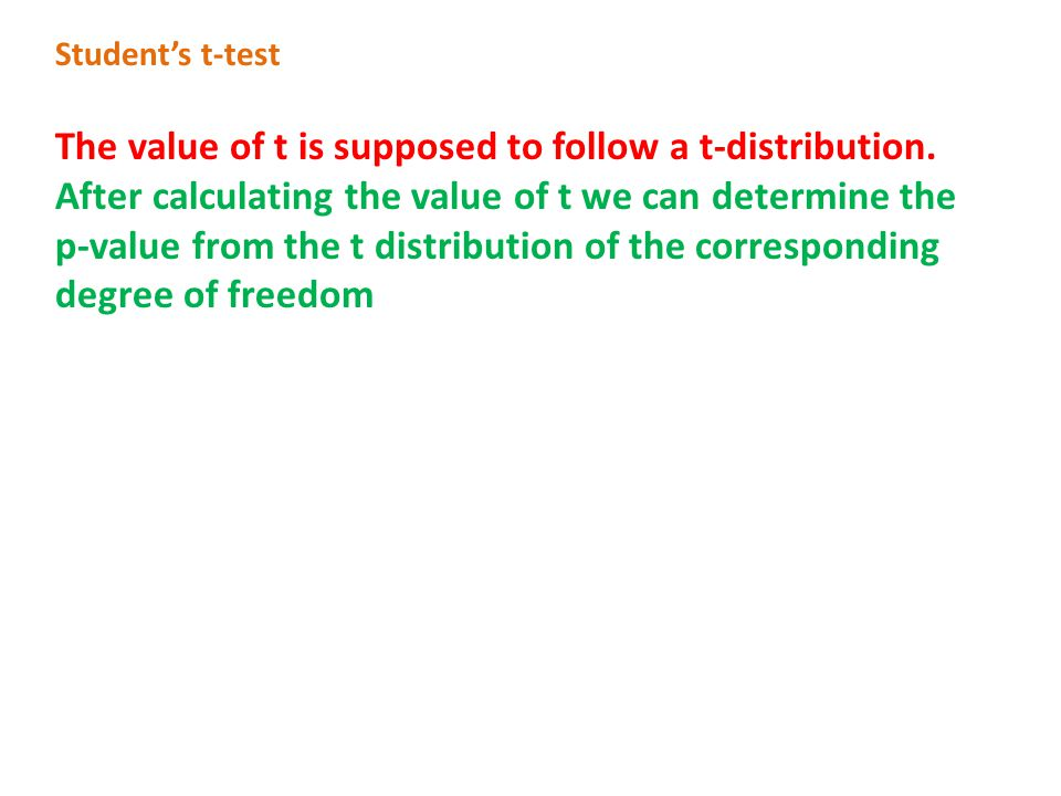 The value of t is supposed to follow a t-distribution.