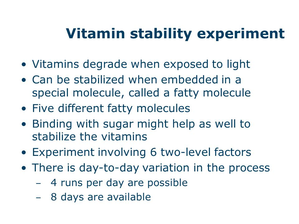 Vitamin stability experiment
