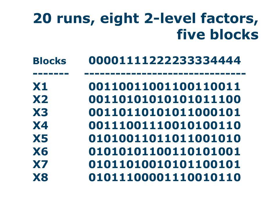27 runs, nine 3-level factors, nine blocks