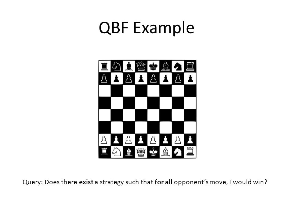 QBF Example Query: Does there exist a strategy such that for all opponent's move, I would win
