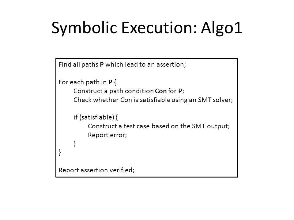 Symbolic Execution: Algo1