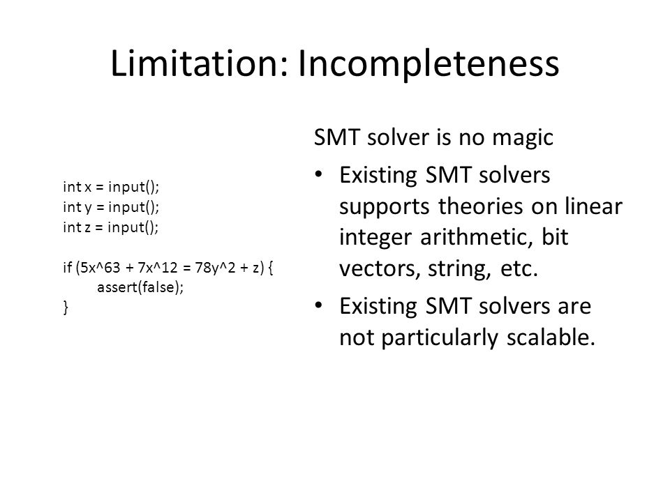 Limitation: Incompleteness