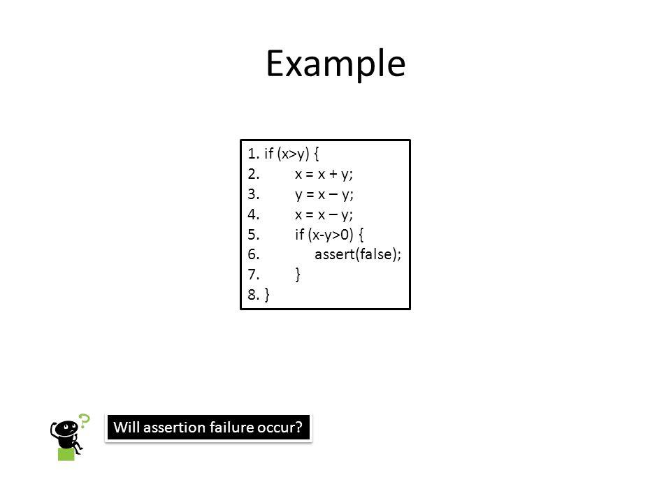 Example 1. if (x>y) { 2. x = x + y; 3. y = x – y; 4. x = x – y;