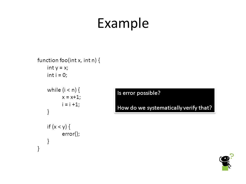 Example function foo(int x, int n) { int y = x; int i = 0;