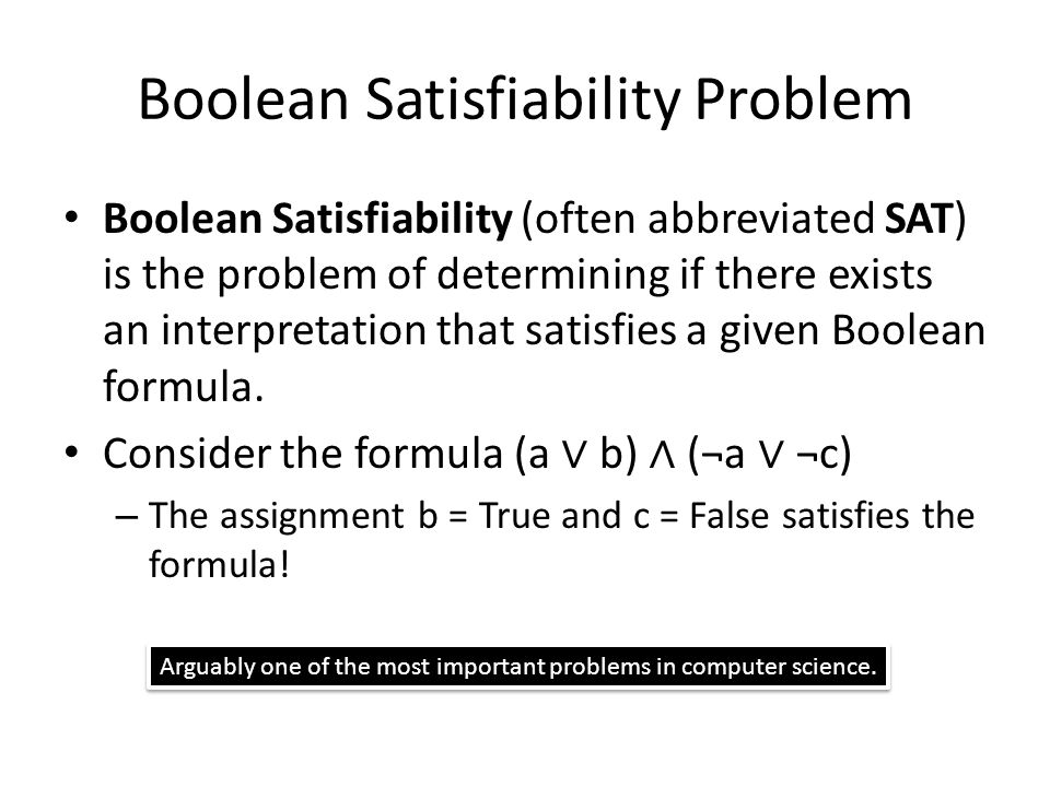 Boolean Satisfiability Problem