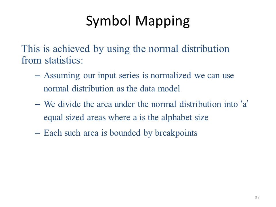 Symbol Mapping This is achieved by using the normal distribution from statistics: